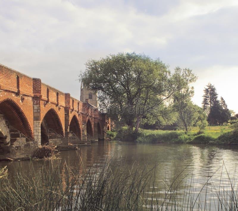 Medieval bridge great barford stock photo