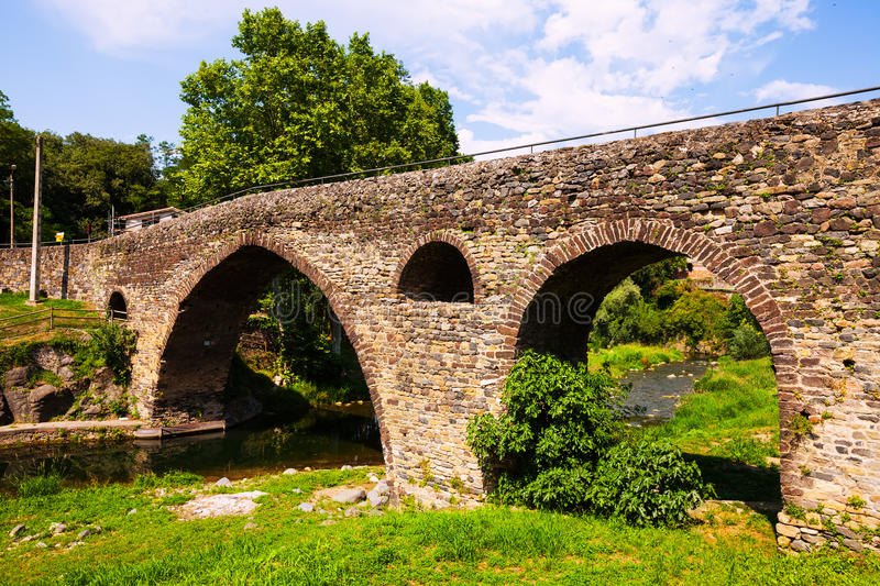 Medieval Bridge In Sant Joan Les Fonts Royalty Free Stock Photography