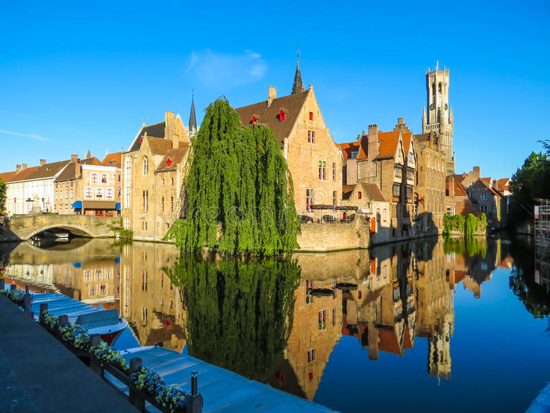 Medieval Brugge, Belgium. Houses along the canals of Brugge, Belgium stock photo
