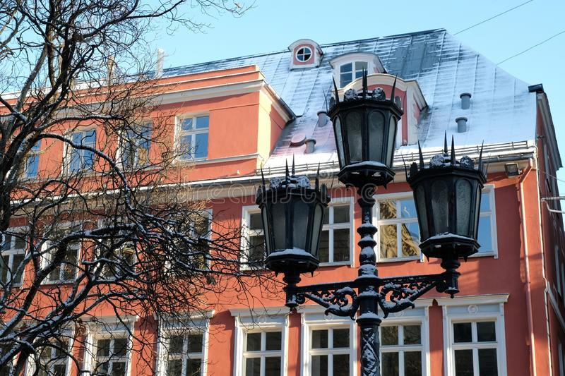 Medieval building in old town center of Riga, Latvia.  stock photography