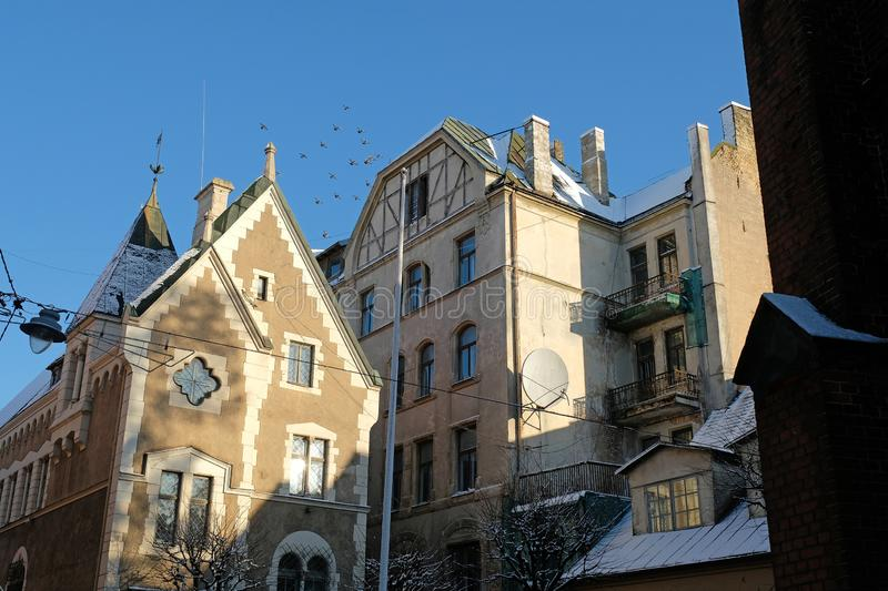Medieval building in old town centre of Riga, Latvia.  stock images