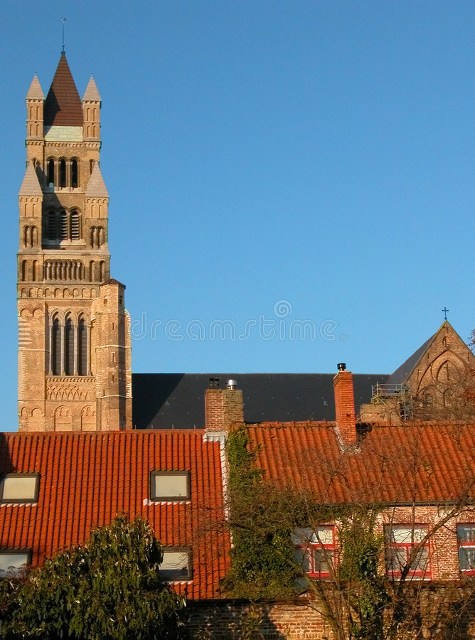 Medieval buildings in Bruges stock photo