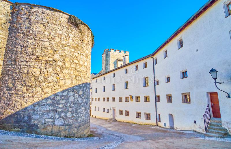 The medieval  buildings of Hohensalzburg Citadel, Salzburg, Austria. The modest gothic styled buildings of Hohensalzburs Citadel with stone tower of the inner royalty free stock images