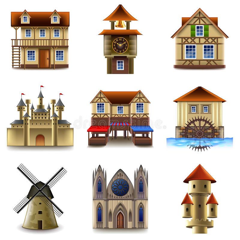 Medieval buildings icons vector set stock illustration