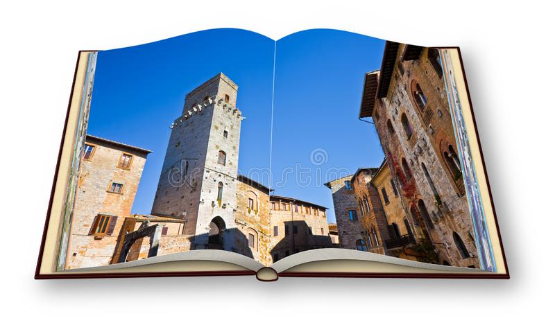 Medieval buildings of San Gimignano Tuscany - Italy - 3D render of an opened photo book isolated on white background - I`m the stock images
