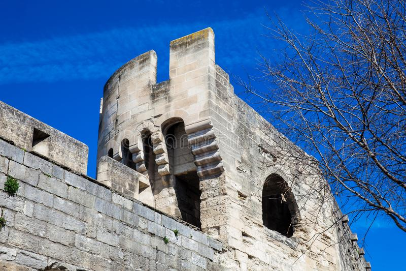 Medieval built Avignon city stone wall stock images