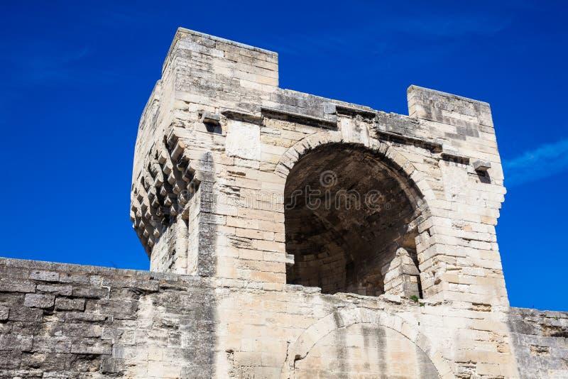 Medieval built Avignon city stone wall stock photos