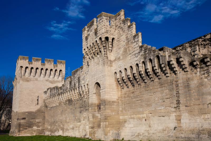 Medieval built Avignon walled city stock images
