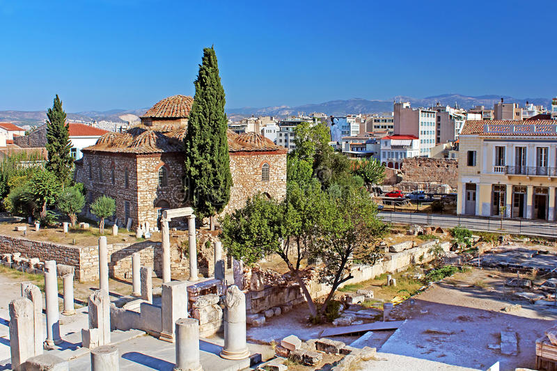 Medieval Byzantine church and old ruins, Athens, Greece royalty free stock image