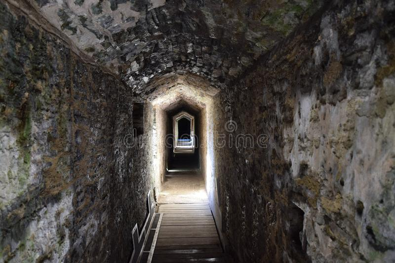 Medieval Caerphilly Castle corridor. Built in 13th century by the Normans, medieval Caerphilly Castle is in Wales stock photos