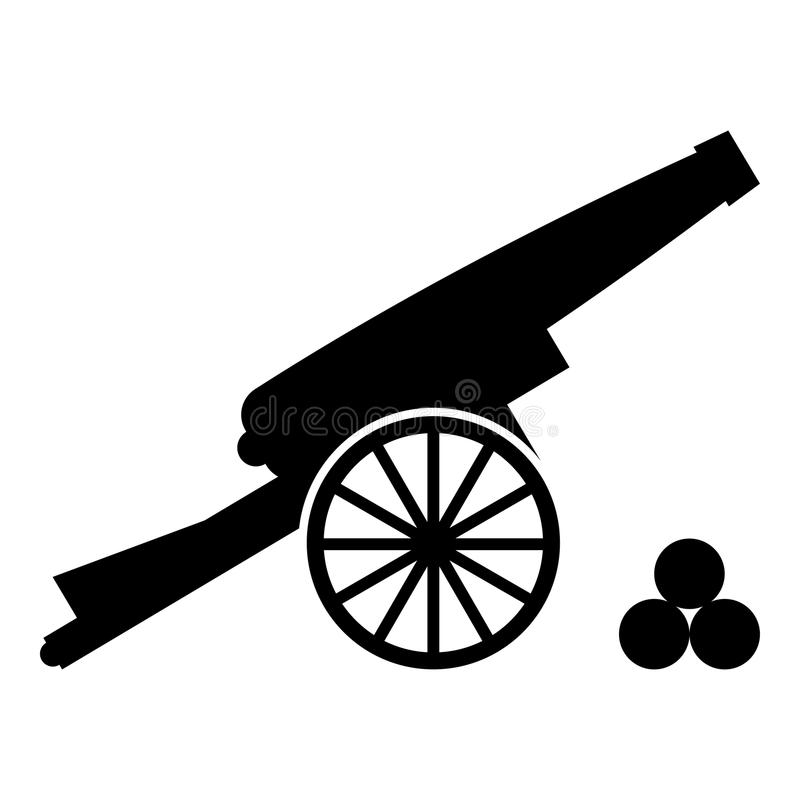 Medieval cannon firing cores icon black color illustration flat style simple image royalty free illustration