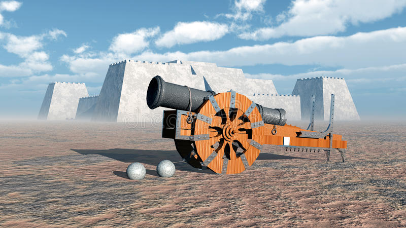 Medieval cannon and fortress vector illustration