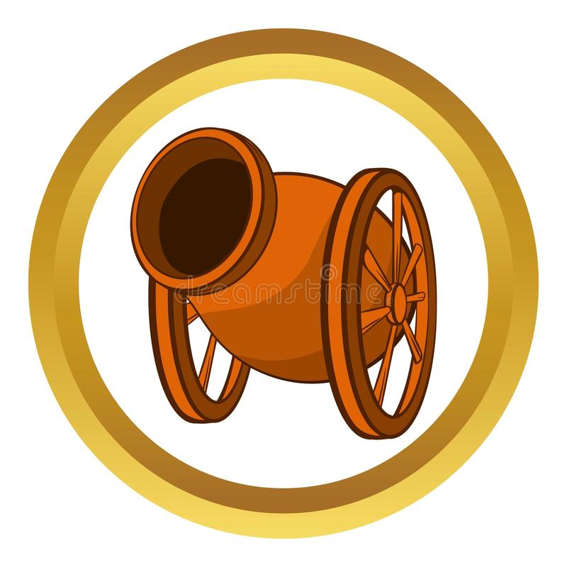 Medieval cannon vector icon, cartoon style vector illustration
