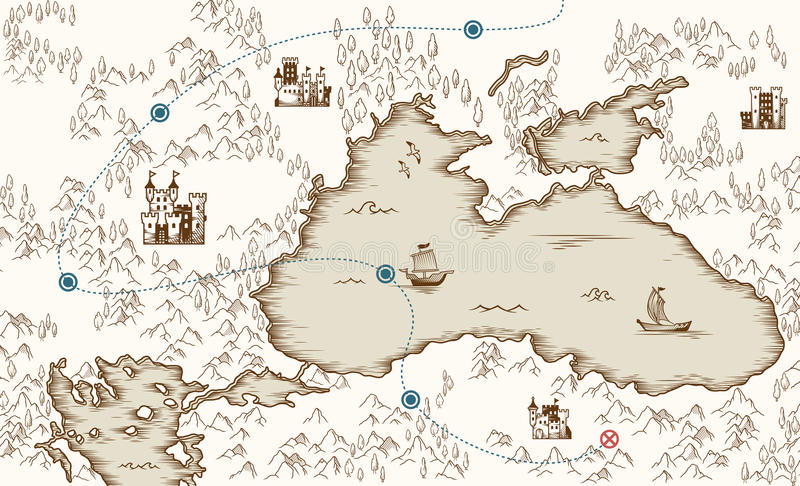 Medieval cartography, old pirate treasure map, vector illustration. For design stock illustration