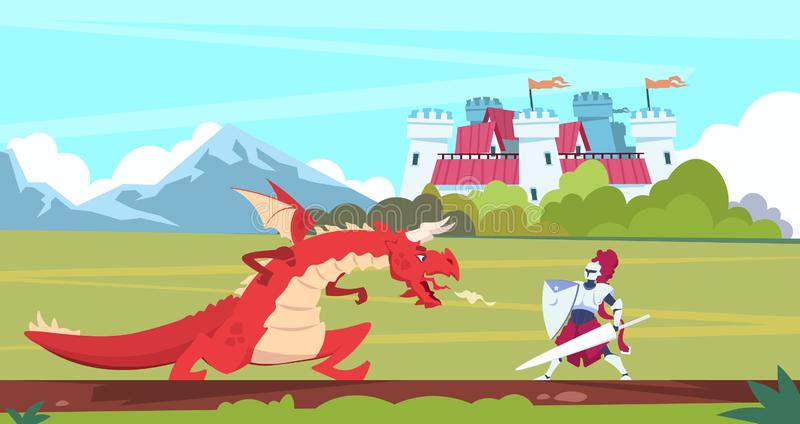 Medieval cartoon scene. Dragon and knight warrior fight, monster and prince fairy tale flat characters. Vector medieval. Medieval cartoon scene. Dragon and royalty free illustration