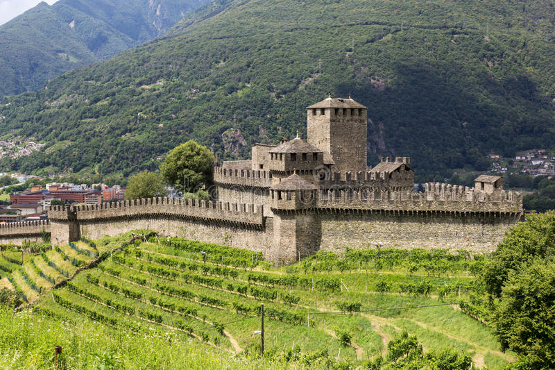 Medieval castel Montebello, Ticino, Switzerland. Medieval castel Montebello, Bellinzona, Canto Ticino, Switezrland royalty free stock photo