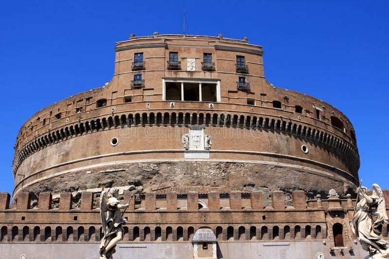 Castel Sant`Angelo in Rome, Italy. Medieval Castel Sant`Angelo Mausoleum of Hadrian in Parco Adriano, Rome, Italy royalty free stock image