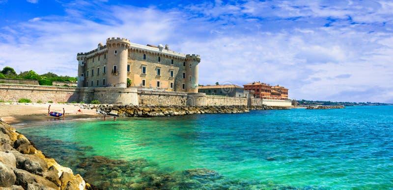 Medieval Castello Palo Odescalchi. Impressive Odescalchi castle,Palo Italy stock image