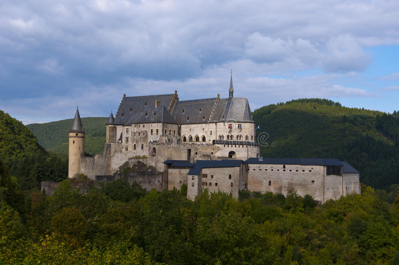 Medieval castle. View of the Vianden Castle in Vianden (Luxembourg) and surrounding country. Vianden Castle was constructed between the 11th and 14th centuries royalty free stock image