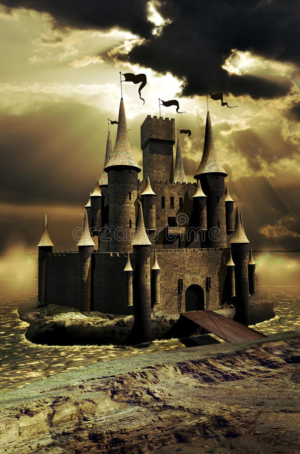 Medieval castle. On an island in the middle of a big river vector illustration