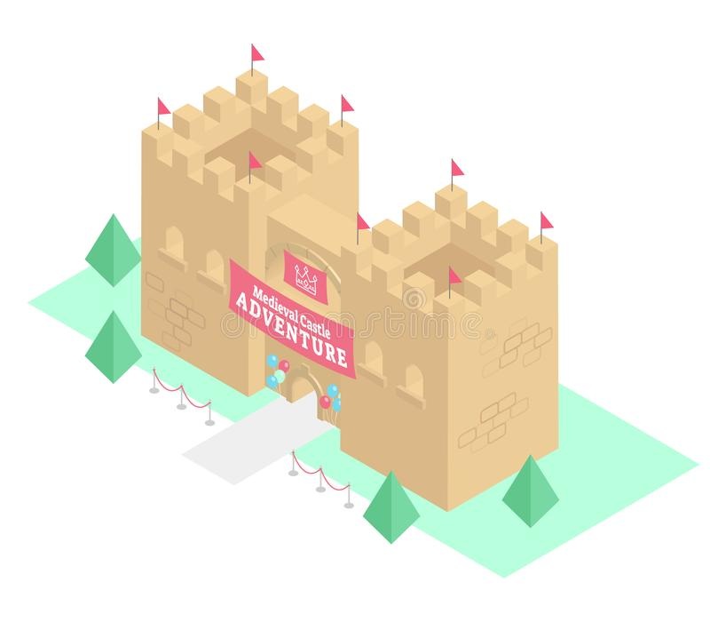 Medieval castle adventure isometric 3D vector illustration, tourist attraction historical building. stock illustration