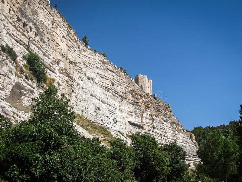 Medieval castle at Alcala del Jucar, Castilla la Mancha, Spain. Medieval castle at Alcala del Jucar in Castilla la Mancha, Spain stock image