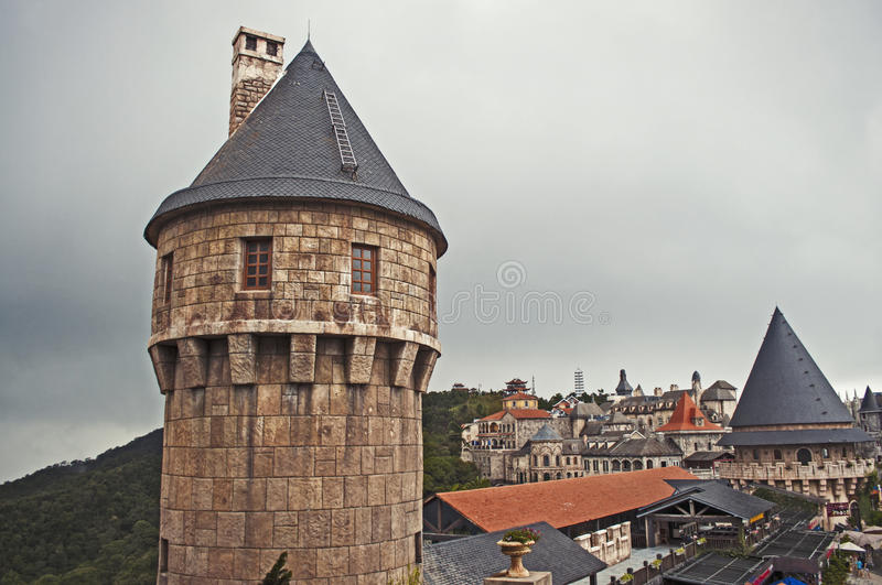 Medieval castle. In bana hills french village royalty free stock photos