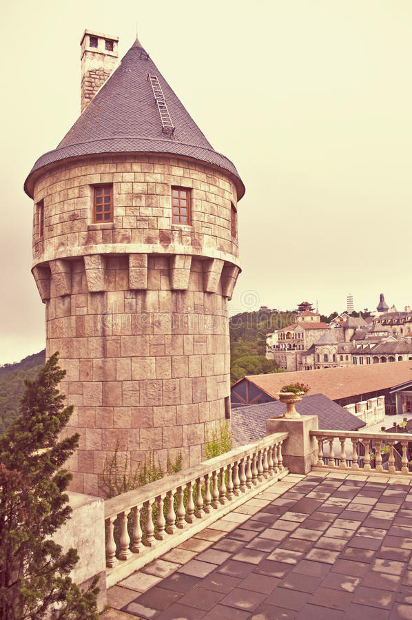 Medieval castle. In bana hills french village royalty free stock images