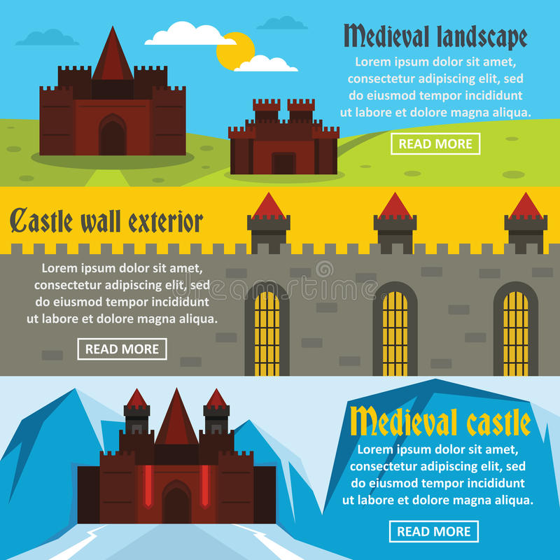 Medieval castle banner horizontal set, flat style royalty free illustration
