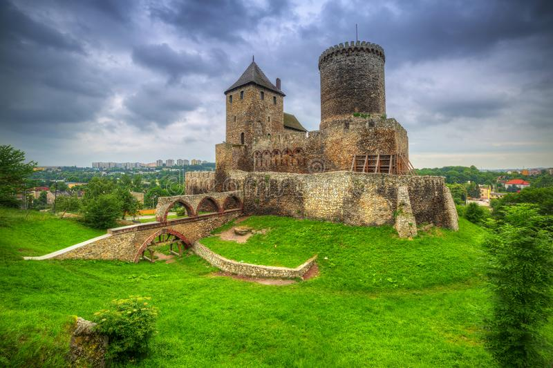Medieval castle in Bedzin at dusk, Poland stock photo