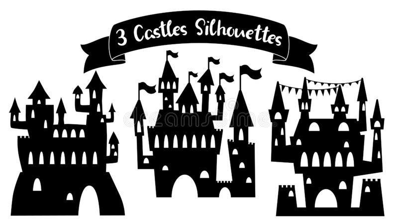 Medieval castle black silhouette. Fairy tale palace vector illustration on white background. Castle silhouette royalty free stock photo