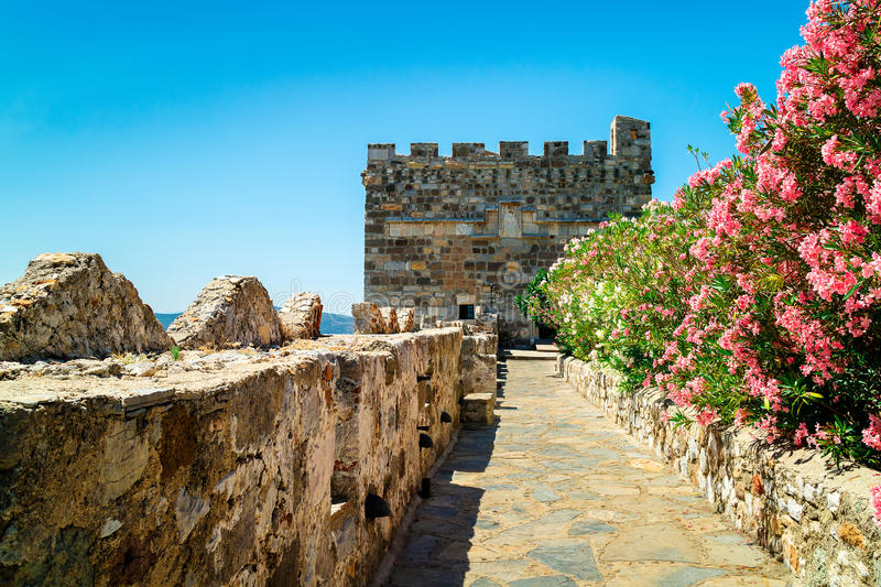 Medieval castle in Bodrum, Turkey. Walls of the famous Bodrum Castle of St. Peter royalty free stock photography
