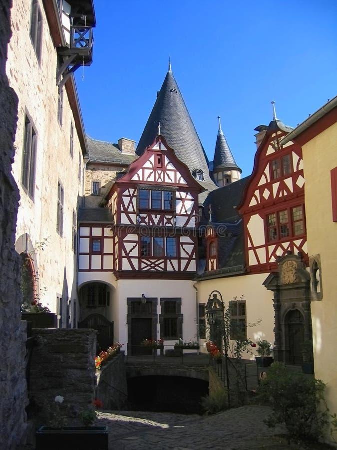 Romantic Inner Courtyard of Buerresheim Castle in Eifel Mountains, Rhineland-Palatinate, Germany royalty free stock image