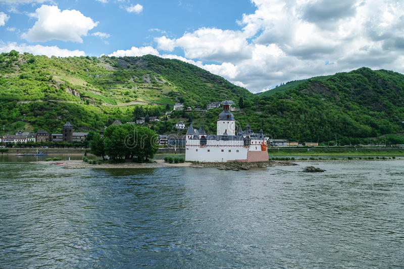 Medieval castle Burg Pfalzgrafenstein at Rhine river valley, ne royalty free stock photography