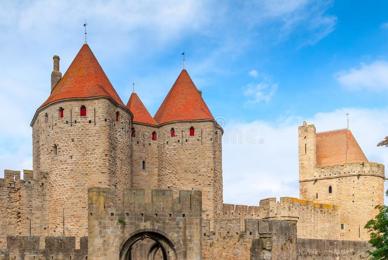 Medieval Castle of Carcassonne, Aude, Occitanie, France royalty free stock image