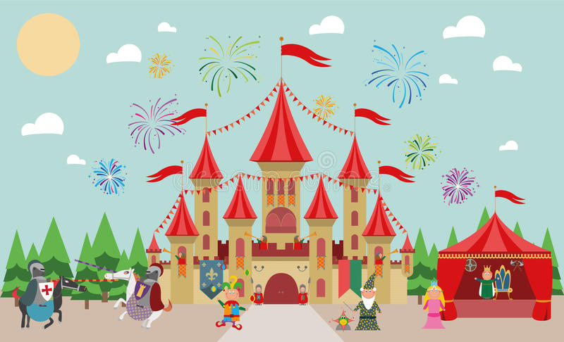 Medieval Castle with characters (king, princess, magician, knights and jester) and fireworks. royalty free illustration