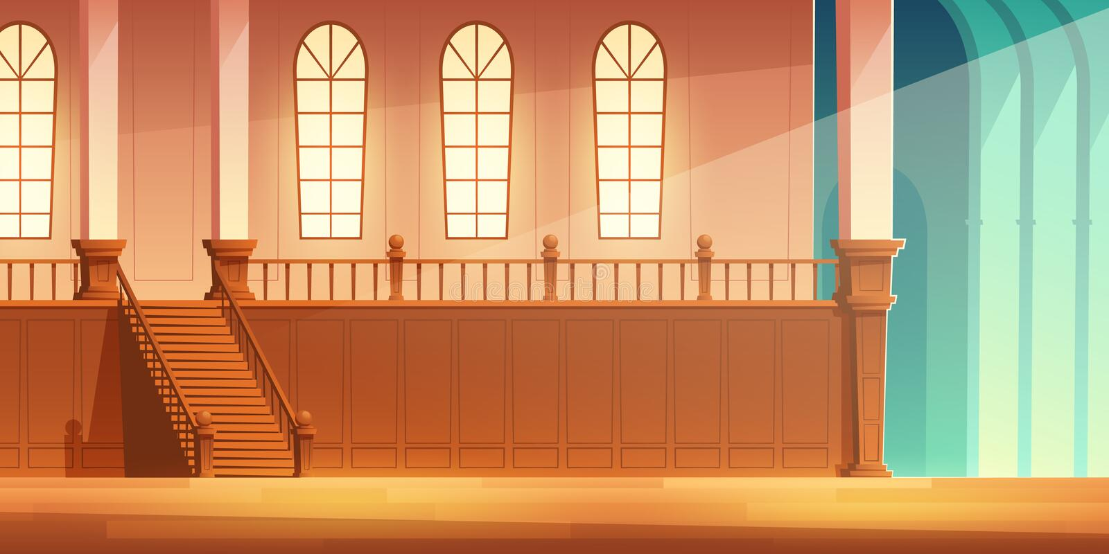 Castle, cathedral hall with balcony cartoon vector. Medieval castle, church or cathedral spacious hall with wooden stairs on balcony with large windows and vector illustration