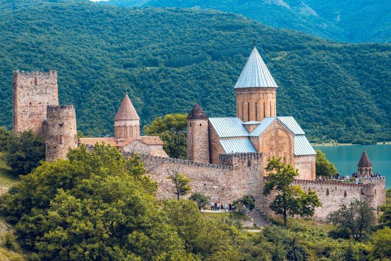 Medieval castle on coastline royalty free stock images
