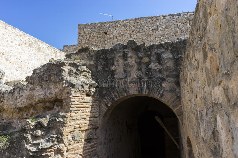 Medieval castle crypt. Town of Consuegra in the province of Tole royalty free stock photo