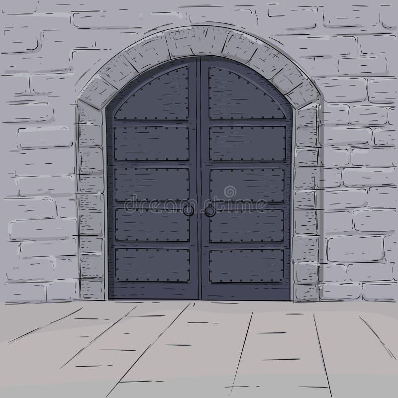 Medieval castle doors. Hand drawn sketch. vector illustration