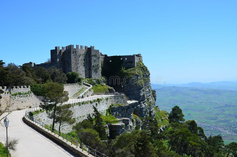 Medieval Castle in Erice, Italy. The Medieval Castle in Erice, Italy royalty free stock photos