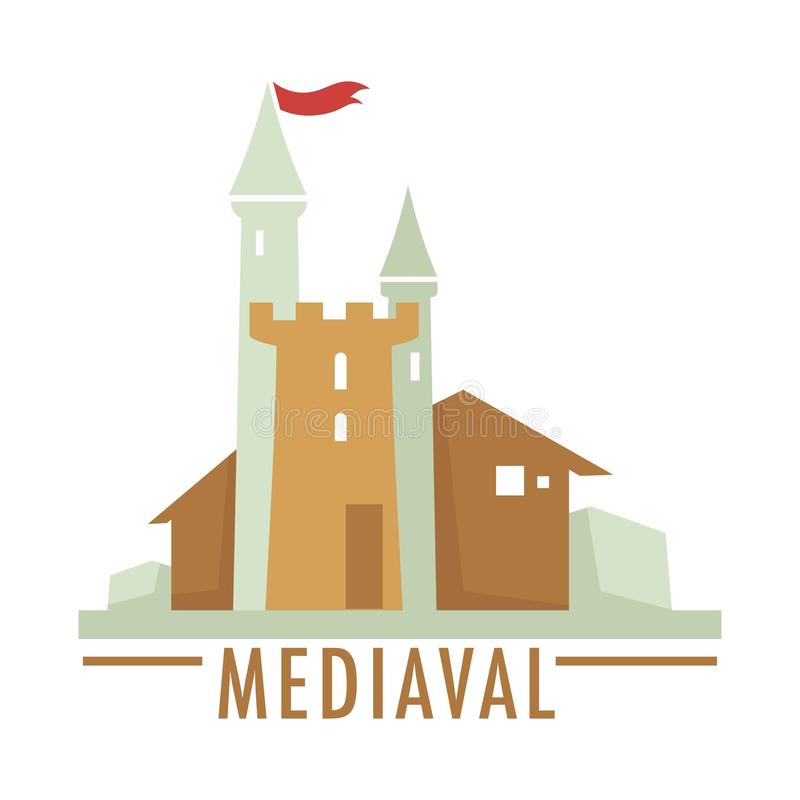 Medieval castle with flag ribbon top, architecture of old times vector illustration