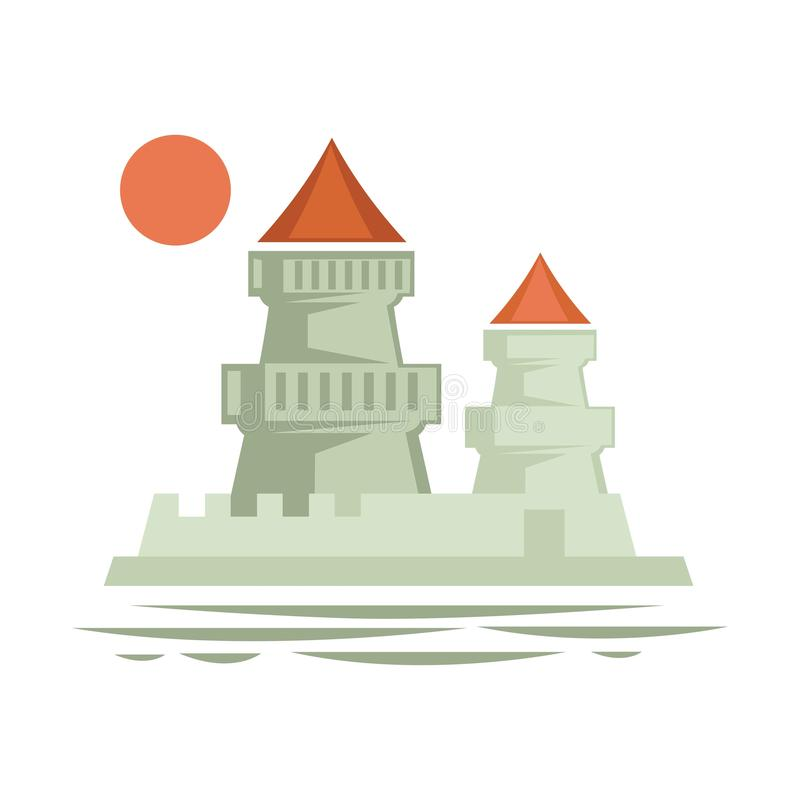 Medieval castle with flag ribbon on top, architecture of old times vector. Stronghold vintage building, epoch heritage of royalty, defending structure vector illustration