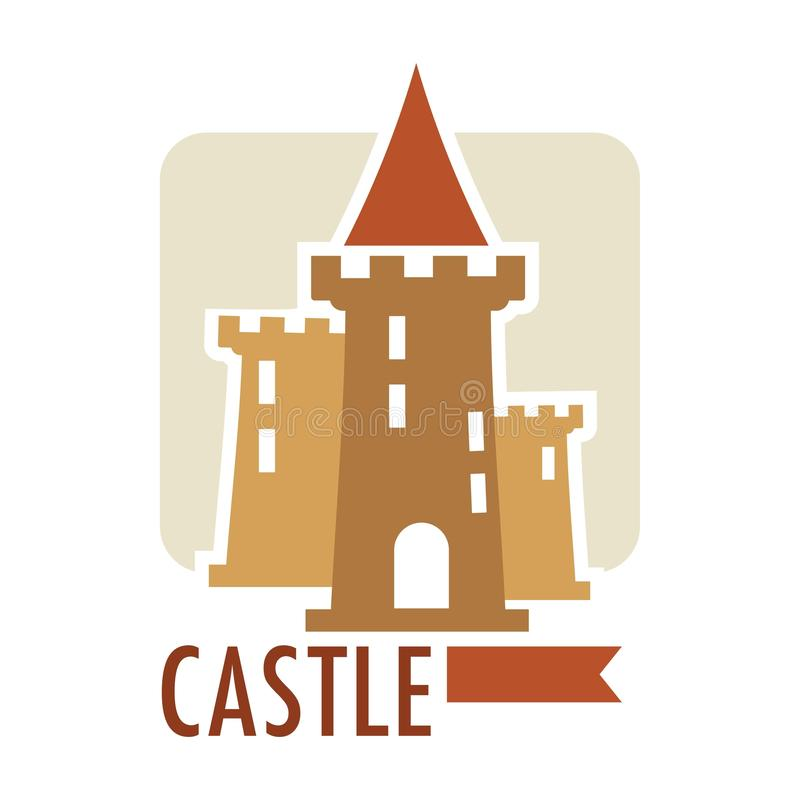 Medieval castle with flag ribbon on top, architecture of old times vector. Stronghold vintage building, epoch heritage of royalty, defending structure stock illustration