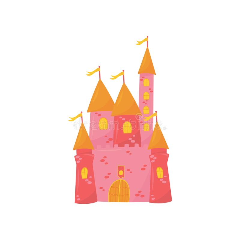 Medieval castle with flanking towers, wooden gate and flags on conical roof. Pink princess palace. Fairy tale building stock illustration