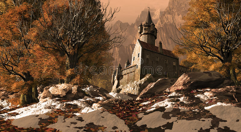 Medieval Castle Fortress In The Mountains. With some patches of snow in the foreground stock illustration