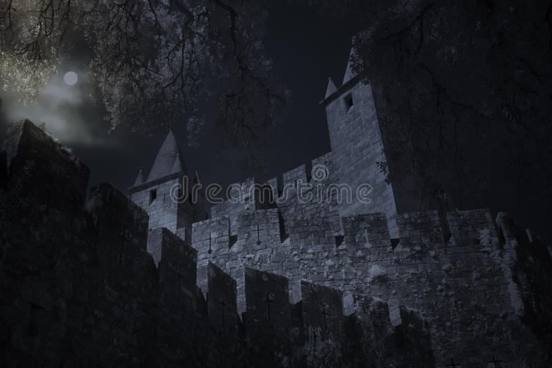 Medieval castle in full moon night royalty free stock image