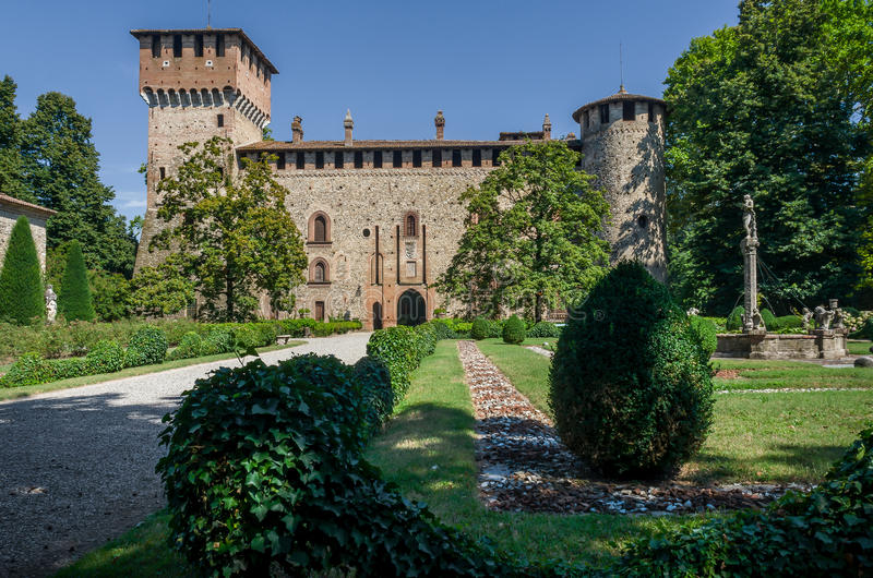 Medieval castle of Grazzano Visconti stock photo