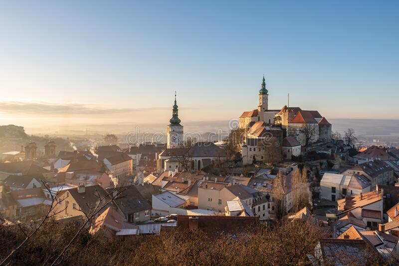 Medieval castle and historic centre of Czech town Mikulov stock image