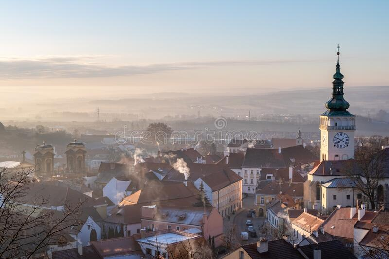 Medieval castle and historic centre of Czech town Mikulov royalty free stock photo